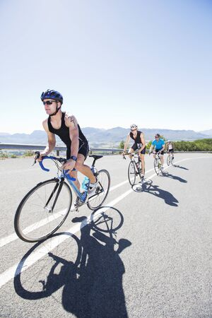 move in: Cyclists in race on rural road