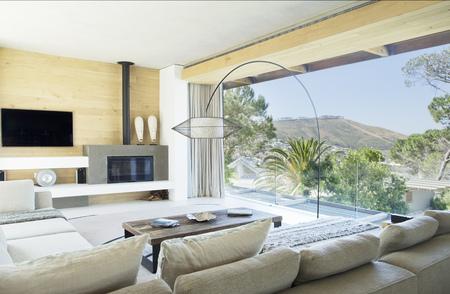fireplace living room: Sofas and table in modern living room LANG_EVOIMAGES