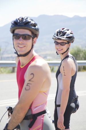 smile close up: Cyclists smiling before race