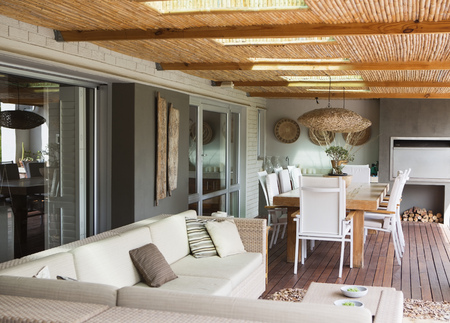 sectional door: Sofa and table on modern patio