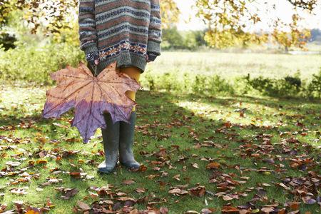 Child holding large autumn leaf outdoors