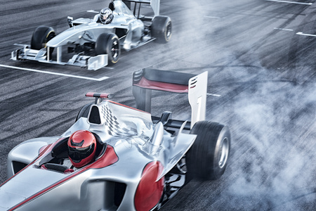 formula one: Race cars driving on track
