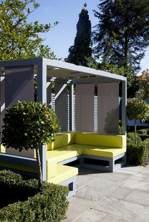 Sofa and gazebo in modern backyard