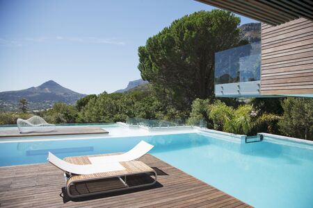 Luxury swimming pool with mountain view