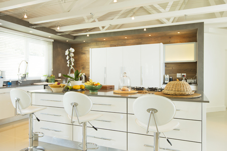 Modern kitchen with barstools