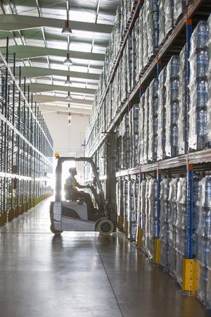 Worker operating forklift in warehouse LANG_EVOIMAGES