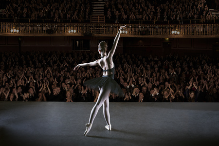 Ballerina performing on stage in theater LANG_EVOIMAGES