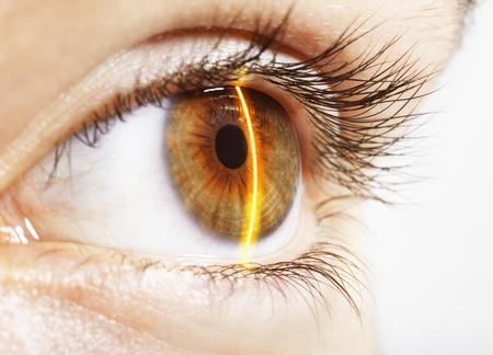 futuristic: Extreme close up of laser scanning hazel eye LANG_EVOIMAGES