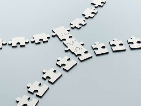 bridging: Jigsaw pieces bridging the gap LANG_EVOIMAGES