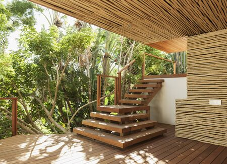 Wooden stairs and deck