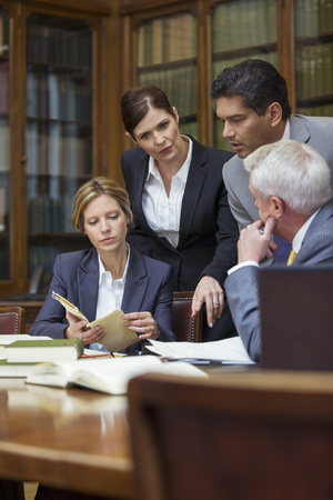four chambers: Lawyers talking in chambers