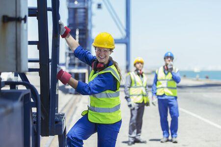 docker: Worker climbing cargo crane