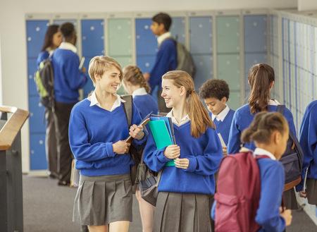 jamaican ethnicity: Students in corridor during break in high school