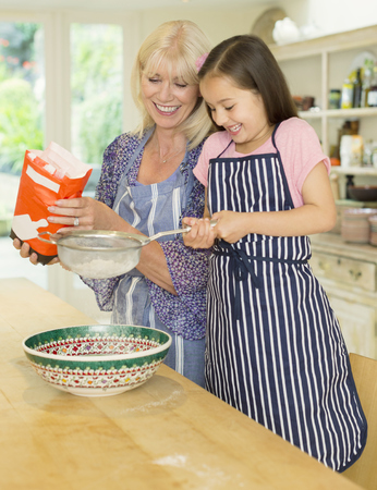 Grandmother and granddaughter baking sifting flour in kitchen