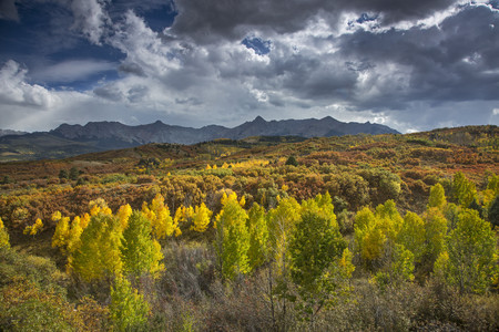 vastness: Clouds over yellow autumn trees in valley below mountains, Dallas Divide, Colorado, United States,  LANG_EVOIMAGES