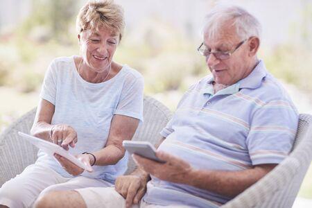 silver surfer: Senior couple using digital tablet