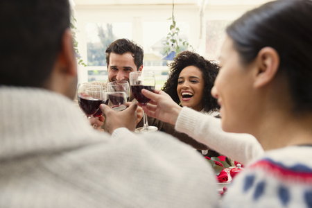 vietnamese ethnicity: Enthusiastic friends toasting wine glasses at Christmas dinner LANG_EVOIMAGES