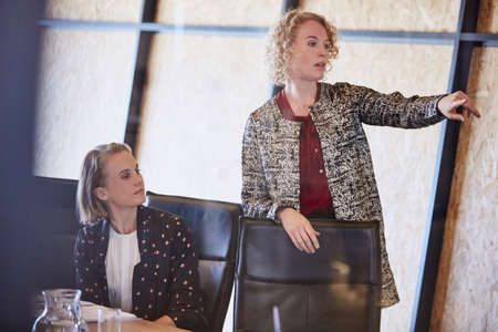 clarifying: Businesswoman pointing in conference room meeting