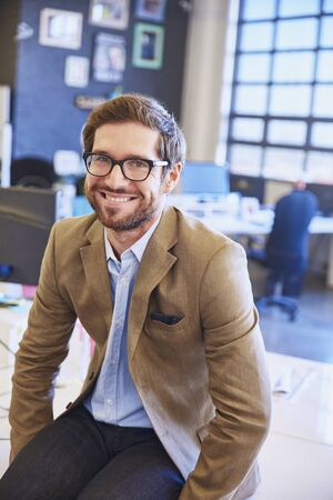 successfulness: Portrait smiling businessman in office