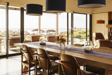 Home Showcase Dining Room With Ocean View Stock Photo   78292935