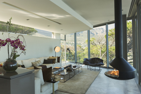 Luxury Modern Fireplace And Home Showcase Living Room Stock Photo   78293069