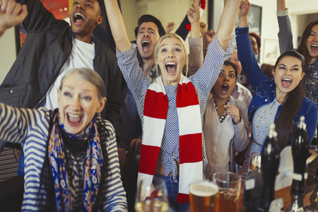 alcohol series: Enthusiastic sports fans cheering watching game in bar