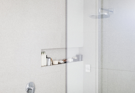 shower stall: Modern white shower stall