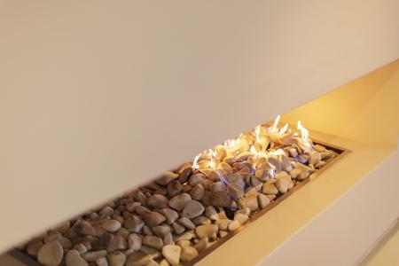 gas fireplace: Modern rock gas fireplace