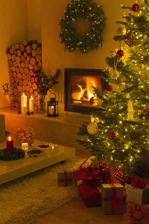 yule log: Ambient fireplace and candles illuminating living room with Christmas tree and decorations