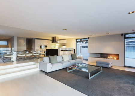 gas fireplace: Modern luxury home showcase living room with gas fireplace