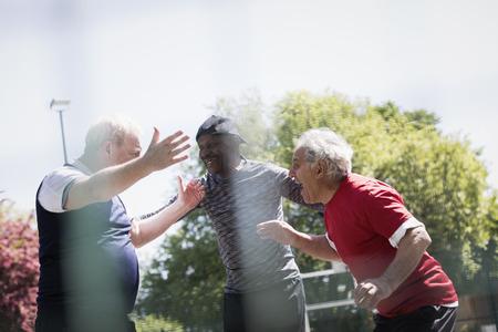 Happy active senior men friends celebrating ins sunny park