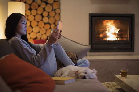 Young woman with dogs using digital tablet on living room sofa LANG_EVOIMAGES