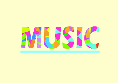 Music word in typography style