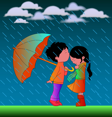 jubilation: Romantic Cartoon Couple In Rain Vector illustration with nice background.