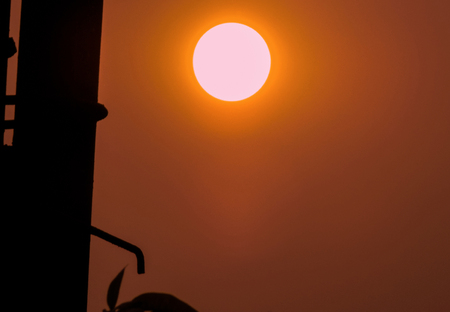 Red Sun at Evening. Stock Photo
