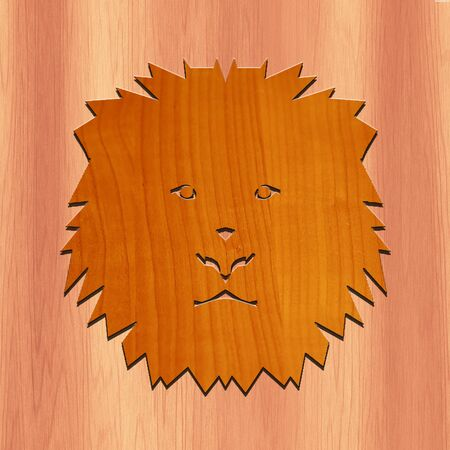 dimond: Lions Face Made with wood Stock Photo