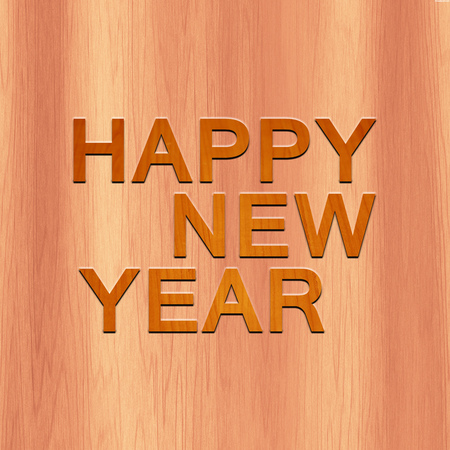Happy New Year Made with Wood Stock Photo