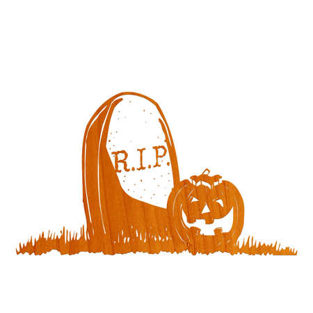 tombstones: Pumpkin in grave drawing Stock Photo