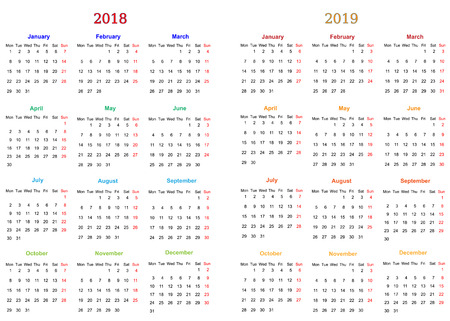 12 months calendar design 2018 2019 printable and editable royalty