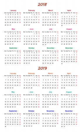 weekly: 12 months Calendar Design 2018-2019 printable and editable
