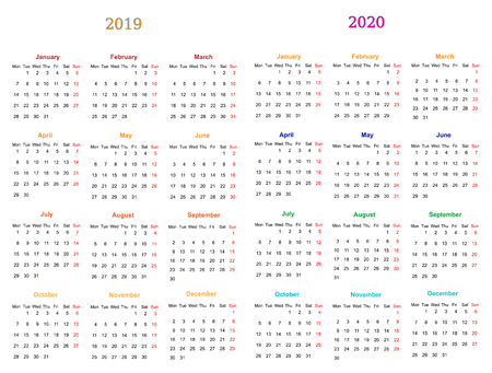 12 Months Calendar Design 2019 2020 Printable And Editable Royalty