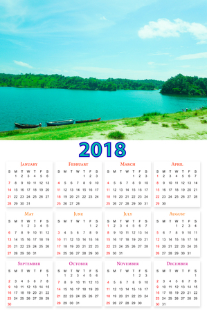 12 months Calendar Design 2018 printable and editable