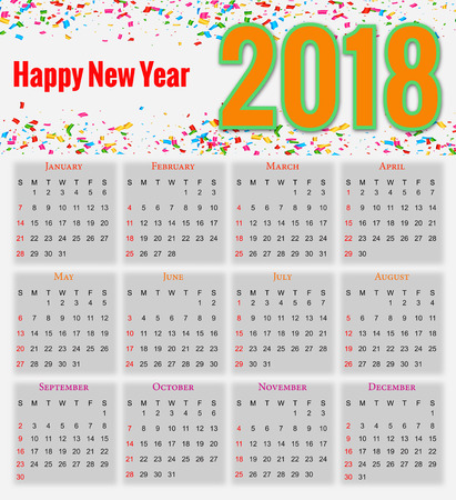 numbers abstract: 12 months Calendar Design 2018 printable and editable.