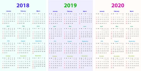 12 Months Calendar Design 2018 2019 2020 Printable And Editable