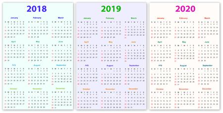 2020 And 2018 Calendar Printable 12 Months Calendar Design 2018 2019 2020 Printable And Editable