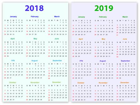 calendar design: 12 months Calendar Design 2018-2019  printable and editable.