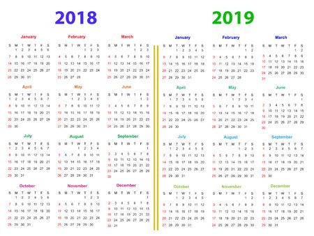 12 Months Calendar Design 2018 2019 Printable And Editable Royalty