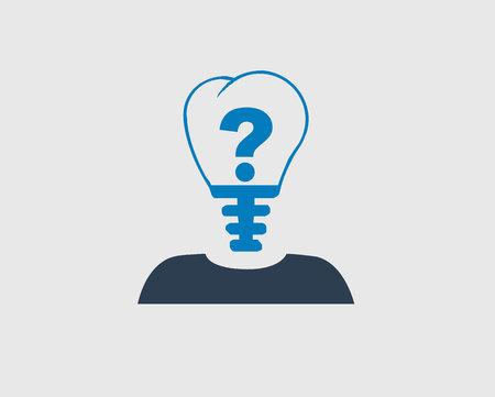 Idea Concept Icon. Question Mark In Bulb Headed person.