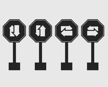 Two way street sign icon with gray Background.