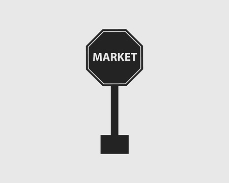 Market Sign of Highway with gray Background.
